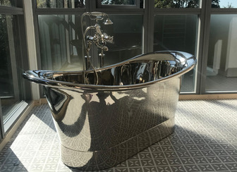 contemporary free standing steel bath