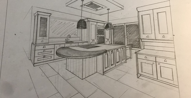 free hand drawings for a kitchen design